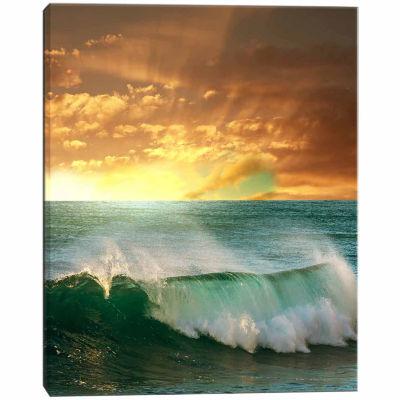 Designart Stormy White Wave In Blue Sea Modern Beach Canvas Art Print