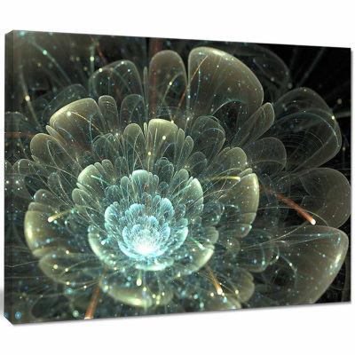 Designart Fractal Flower Blue And Gray Canvas ArtPrint