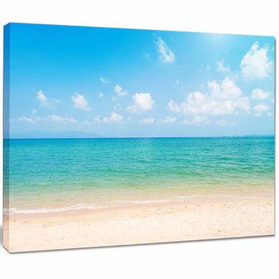Design Art Wide View Of Tropical Beach Seashore Photo Canvas Print