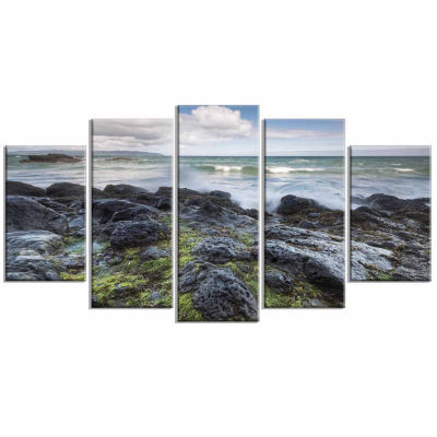 Designart Rocky North Ireland Seashore PhotographyCanvas Art Print - 5 Panels