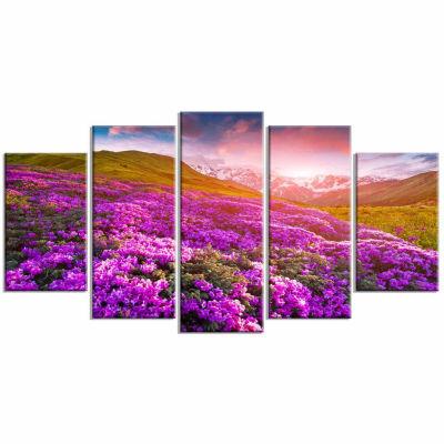 Design Art Blooming Rhododendron Flowers Landscape Photo Canvas Art Print - 5 Panels