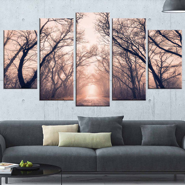 Designart Road Through Mystical Dark Forest Landscape Photography Canvas Print - 5 Panels