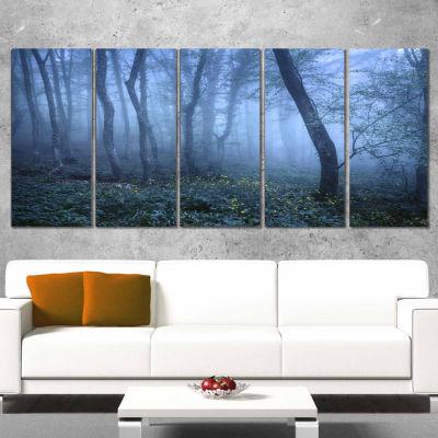 Designart Trail Through Blue Fall Forest LandscapePhoto Canvas Art Print - 5 Panels