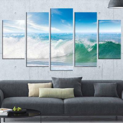Design Art White And Blue Waves Under Sun Seascape Canvas Art Print - 5 Panels