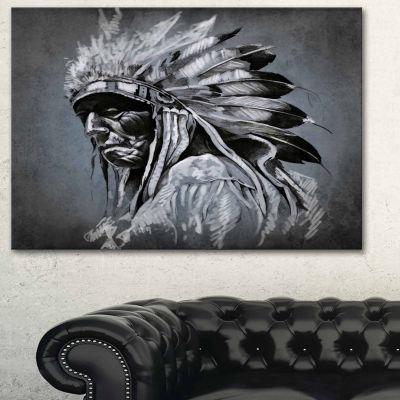 Design Art American Indian Tattoo Art Portrait Canvas Print