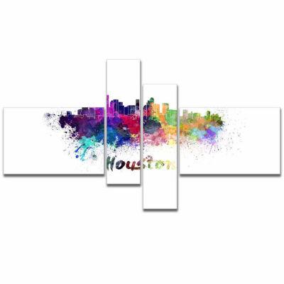 Designart Houston Skyline Cityscape Canvas ArtworkPrint - 4 Panels