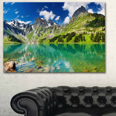 Designart Bright Day Mountain Lake Photography Canvas Art Print