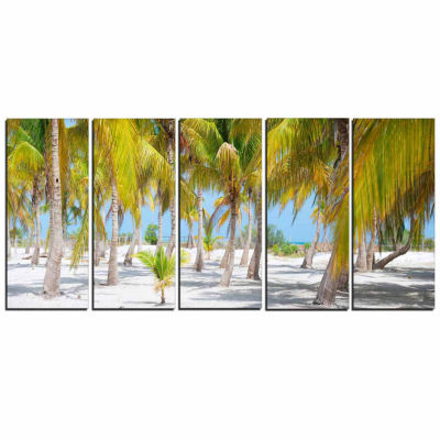 Designart Palm Trees Landscape Photography CanvasArt Print - 5 Panels