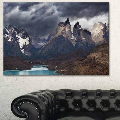 Designart Torres Del Paine Cuernos Mountains Photography Canvas Art Print