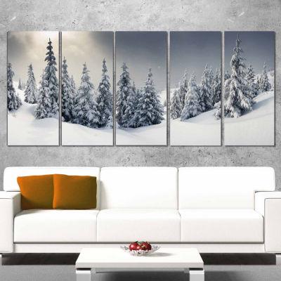 Designart Winter Landscape Photography Canvas ArtPrint - 5 Panels
