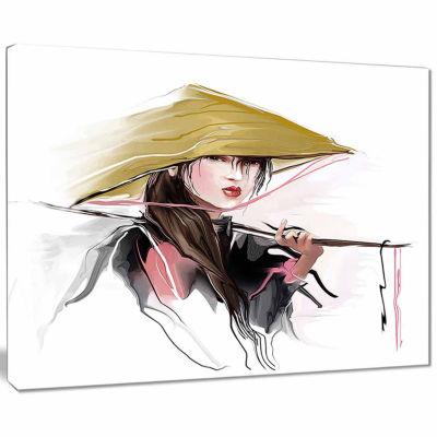 Design Art Vietnamese Woman Digital Art Portrait Canvas Print