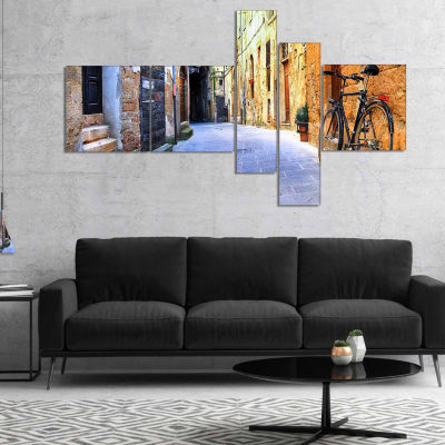 Design Art Pictorial Street Of Old Italy Cityscape Canvas Art Print - 5 Panels