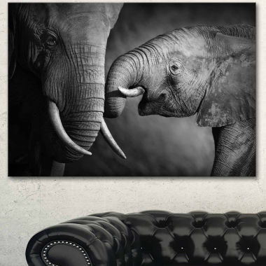 Design Art Elephants Showing Affection Abstract Canvas Art Print