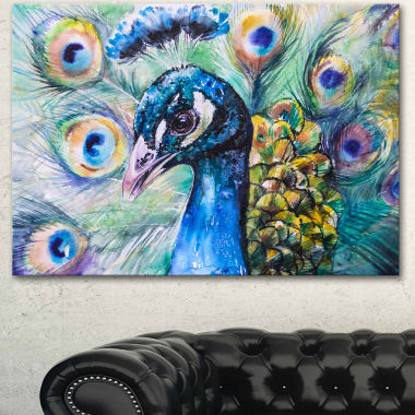 Design Art Beautiful Peacock Watercolor Abstract Canvas Art Print