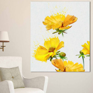 Design Art Beautiful Yellow Flowers On White Canvas Art Print