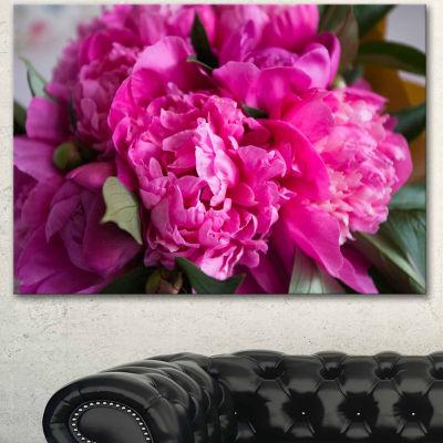 Design Art Pink Peonies On Wooden Background Flower Artwork On Canvas