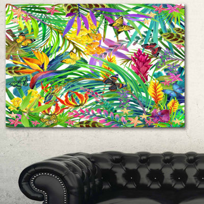 Design Art Tropical Leaves And Flowers Art Canvas Print