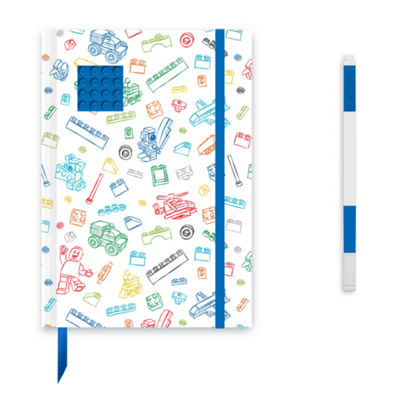 Santoki - LEGO Journal with Blue 4x4 Brick + Blue Gel Pen