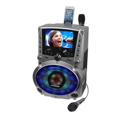 Karaoke USA - DVD/CD+G/MP3+G Karaoke System with 7 Inch TFT Color Screen, Record, Bluetooth and LED Sync Lights