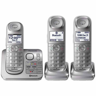 Panasonic KX-TGL463S Link2Cell Bluetooth Cordless Phone with Comfort Shoulder Grip and Answering Machine - 3 Handsets