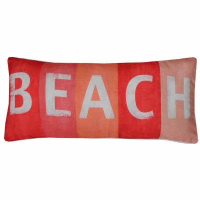 Thro by Marlo Lorenz  Beach Printed Sign Faux Linen  Throw Pillow