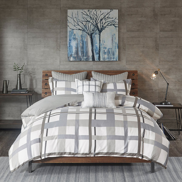 INK+IVY Sterling Plaid Cotton 3-pc. Comforter Mini Set