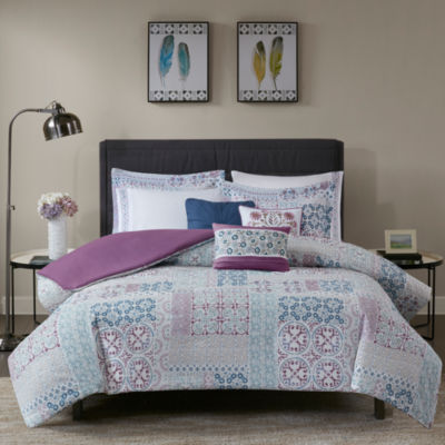Madison Park Alexandra Cotton Percale 8-pc. Duvet Cover Set