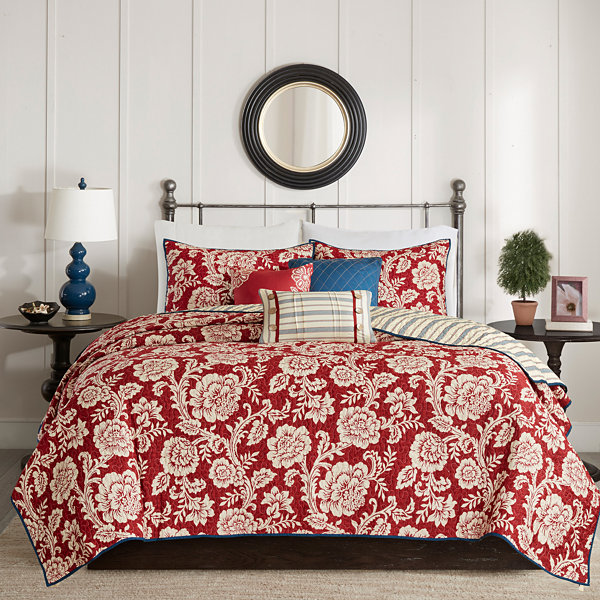Madison Park Georgia Cotton Twill Reversible 6-pc.  Coverlet Set