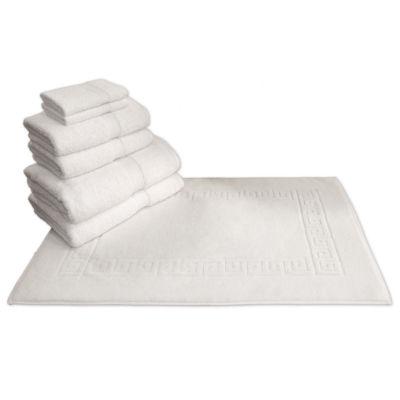 Linum Home Textiles Terrry 7-pc Towel and Greek Key Tubmat Set