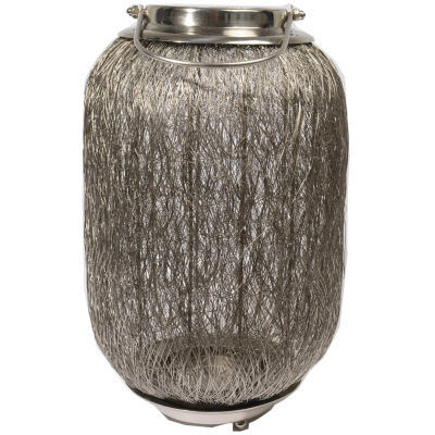 """27.25"""" Beach Day Contemporary Chic Extra Large Wire Woven Hurricane Pillar Candle Holder"""""""