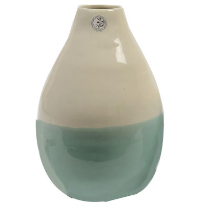 """12"""" L'Eau de Fleur Hand-Made Mint Green and White Ceramic Vase"""""""
