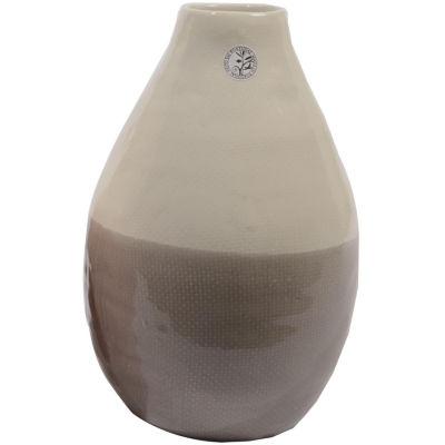 "12"" Tea Garden Hand-Made Gray and White Ceramic Vase"""
