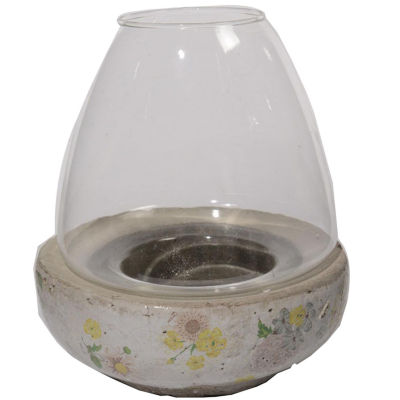 "7"" Tea Garden Antique-Style Distressed Glazed Floral Glass Hurricane Pillar Candle Holder"""