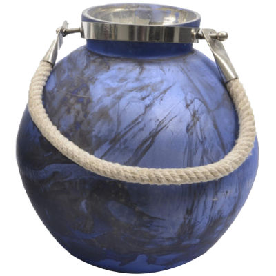 Seaside Treasures Indigo and Black Marbled Glass Hurricane with Rope Handle 14.5""