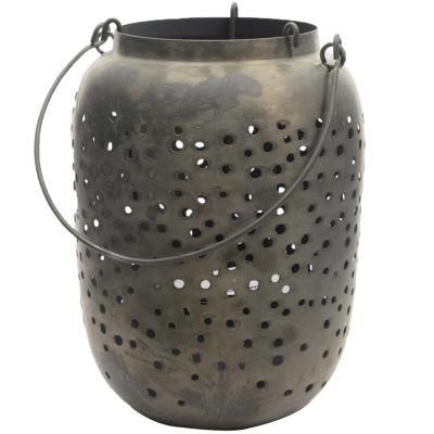"""21"""" Botanic Beauty Gray Zinc Cut-Out Candle HolderLantern"""""""