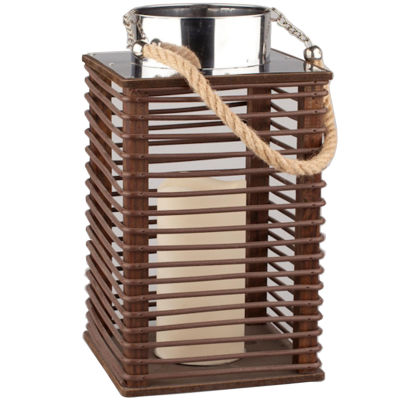 """11.75"""" Contemporary Wooden Corded Lantern with LED Flameless Pillar Candle with Timer"""""""