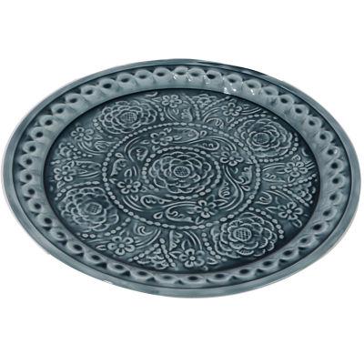 """16.5"""" Dark Blue Embossed Rose Floral Decorative Plate Platter"""""""
