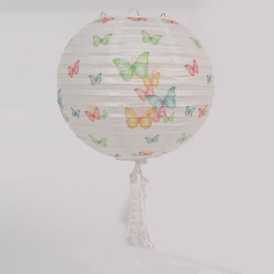 """9"""" L'Eau de Fleur White Butterfly and Floral Chinese Paper Lantern with White Tassels"""""""