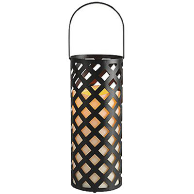 "12"" Black Metal Criss Cross Lantern with Bisque LED Lighted Flameless Indoor/Outdoor Pillar Candle"""