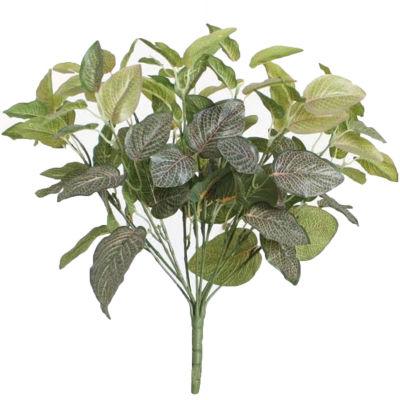 "18.5"" Decorative Artificial Green Two Tone Red NetFloral Bush"""