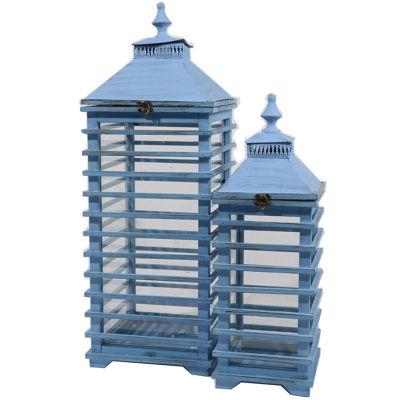 "Set of 2 L'Eau de Fleur Distressed Blue Fir Wood Pillar Candle Lanterns 28"""
