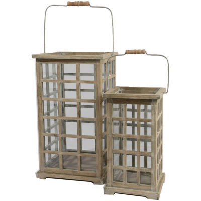 Set of 2 Tea Garden Rustic Natural Fir Wooden Pillar Candle Lanterns 19.5""
