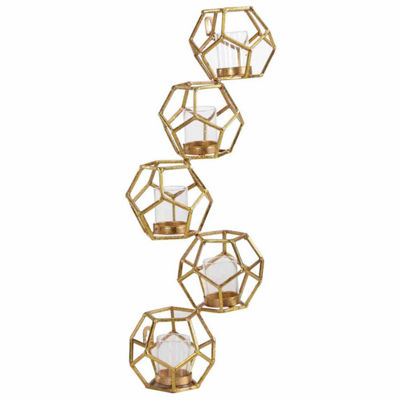Danya B. Sparkling Gold Polyhedron Vertical Candle Wall Sconce