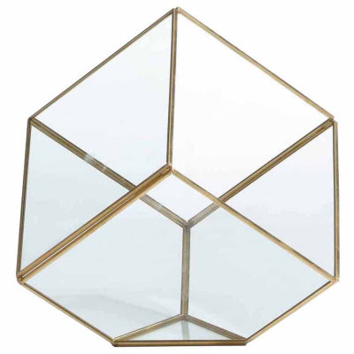 "Danya B. 7"" Cube Brass and Glass Terrarium"""