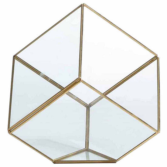 "Danya B. 7"" Cube Brass and Glass Terrarium"""