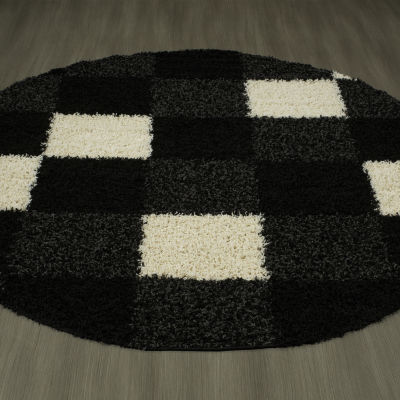 Concord Global Trading Shaggy Collection Blocks Round Area Rug