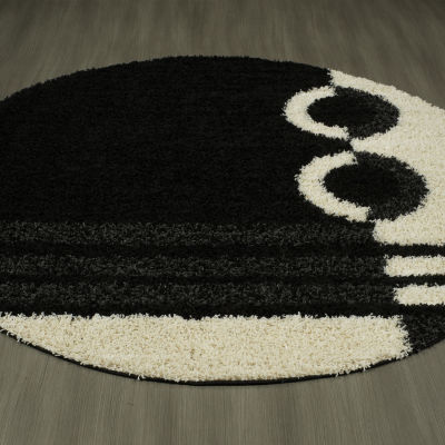 Concord Global Trading Shaggy Collection Rings Round Area Rug
