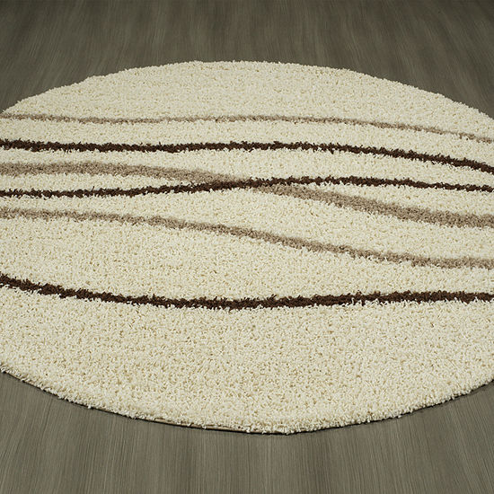 Concord Global Trading Shaggy Collection Waves Round Area Rug