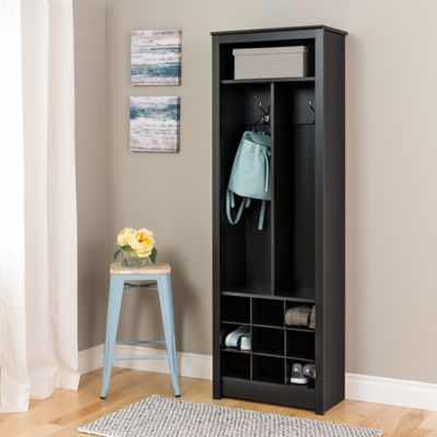 Prepac Space-Saving Entryway Organizer with Shoe Storage, Black