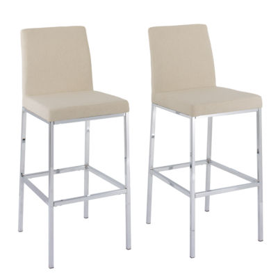 CorLiving Huntington Fabric Bar Stools with Chrome Legs, Bar Height, Set of 2